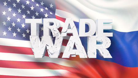 Trade war concept. Cracked text on flag of America and Russia. 3D illustration. Stock Photo