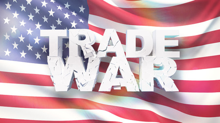 Trade war concept. Cracked text on flag of America. 3D illustration.