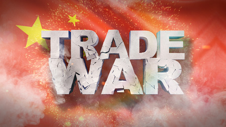 Trade war concept. Cracked text on flag of China. 3D illustration.