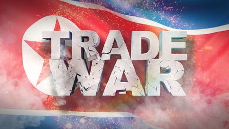 Trade war concept. Cracked text on flag of North Korea. 3D illustration. Фото со стока