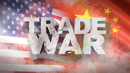 USA and China relationship concept. Cracked text Trade war on flag. 3D illustration. Reklamní fotografie