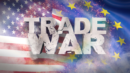 USA and EU relationship concept. Cracked text Trade war on flag. 3D illustration.