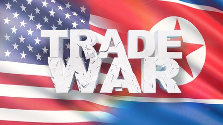 Trade war concept. Cracked text on flag of USA and North Korea. 3D illustration.