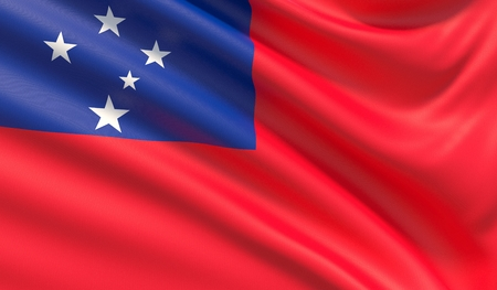 Flag of Samoa. Waved highly detailed fabric texture. Stock Photo