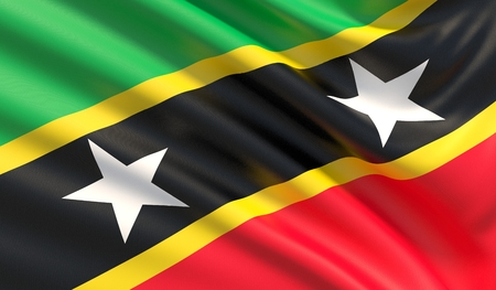 Flag of Saint Kitts and Nevis. Waved highly detailed fabric texture.