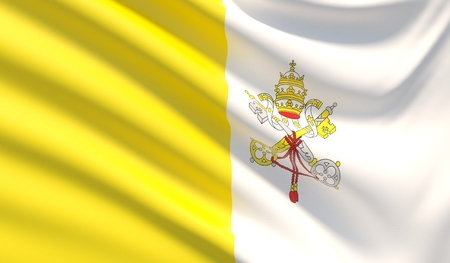 Flag of the Vatican City. Waved highly detailed fabric texture.