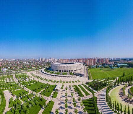 Aerial view of Krasnodar Stadium and the Galitsky park