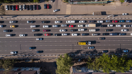 Aerial view of the vehicular intersection, traffic at peak hour with cars on the road 版權商用圖片