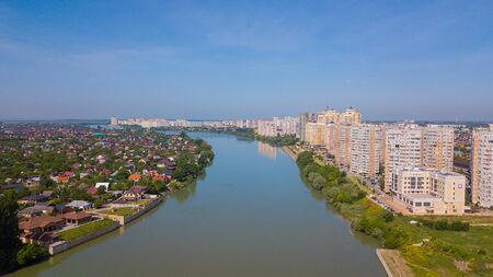 Krasnodar, Russia - may 2019. Aerial city from above. Drones Eye View