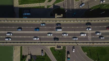 Aerial road view of traffic jam on a car bridge