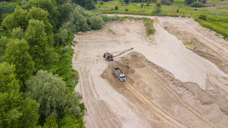 Directly above view of construction machinery in working Stok Fotoğraf