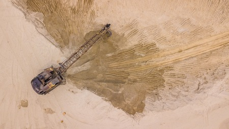 Open pit mine, extractive industry for coal, top view aerial drone Stok Fotoğraf - 123155418