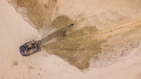 Open pit mine, extractive industry for coal, top view aerial drone Stok Fotoğraf - 123155433
