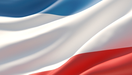 Waved highly detailed close-up flag of Crimea. 3D illustration.