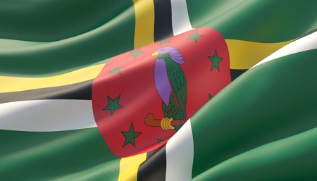 Waved highly detailed close-up flag of Dominica. 3D illustration.