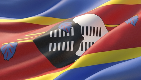 Waved highly detailed close-up flag of Eswatini. 3D illustration.