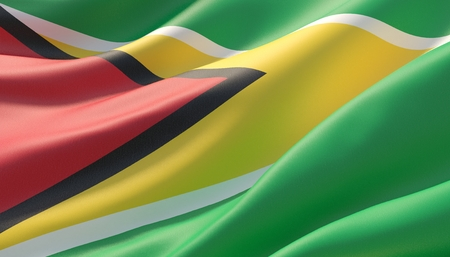 Waved highly detailed close-up flag of Guyana. 3D illustration.