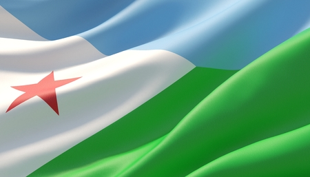 Waved highly detailed close-up flag of Djibouti. 3D illustration. 版權商用圖片