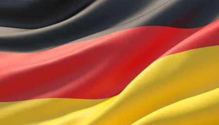 Waved highly detailed close-up flag of Germany. 3D illustration.