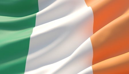 Waved highly detailed close-up flag of Ireland. 3D illustration.