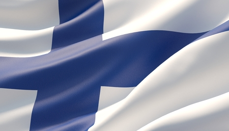 Waved highly detailed close-up flag of Finland. 3D illustration. Фото со стока