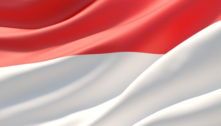Waved highly detailed close-up flag of Indonesia. 3D illustration. 版權商用圖片