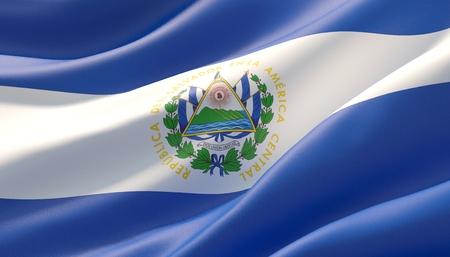 Waved highly detailed close-up flag of El Salvador. 3D illustration.