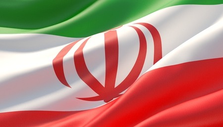 Waved highly detailed close-up flag of Iran. 3D illustration.