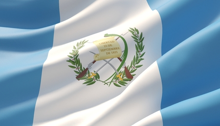 Waved highly detailed close-up flag of Guatemala. 3D illustration.