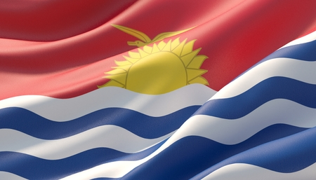 Waved highly detailed close-up flag of Kiribati. 3D illustration.