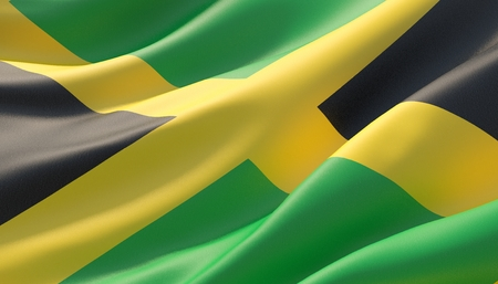 Waved highly detailed close-up flag of Jamaica. 3D illustration.