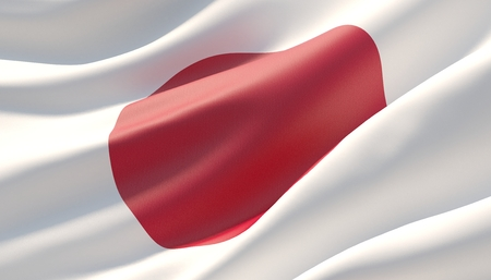 Waved highly detailed close-up flag of Japan. 3D illustration.