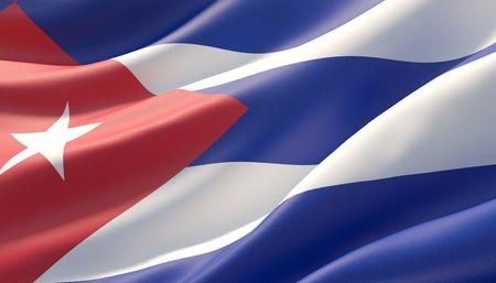 Waved highly detailed close-up flag of Cuba. 3D illustration.