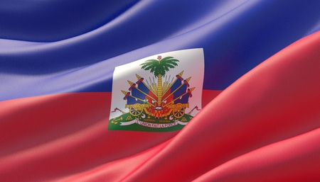 Waved highly detailed close-up flag of Haiti. 3D illustration.