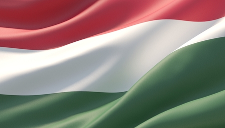 Waved highly detailed close-up flag of Hungary. 3D illustration.
