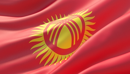 Waved highly detailed close-up flag of Kyrgyzstan. 3D illustration.