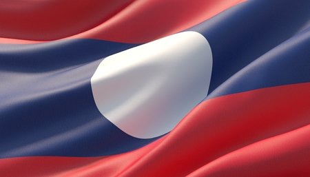 Waved highly detailed close-up flag of Laos. 3D illustration. 版權商用圖片