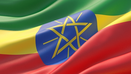 Waved highly detailed close-up flag of Ethiopia. 3D illustration.