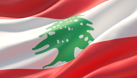 Waved highly detailed close-up flag of Lebanon. 3D illustration.