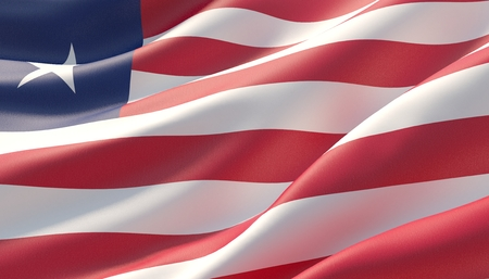 Waved highly detailed close-up flag of Liberia. 3D illustration.