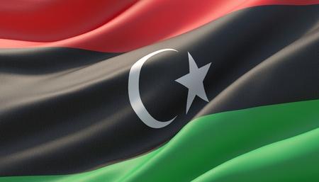 Waved highly detailed close-up flag of Libya. 3D illustration.