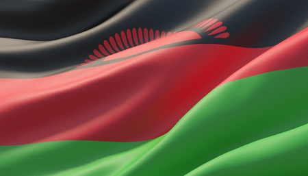 Waved highly detailed close-up flag of Malawi. 3D illustration.