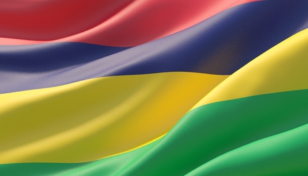 Waved highly detailed close-up flag of Mauritius. 3D illustration.