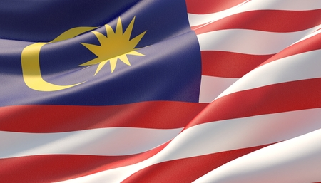 Waved highly detailed close-up flag of Malaysia. 3D illustration. 版權商用圖片