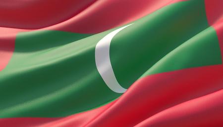 Waved highly detailed close-up flag of Maldives. 3D illustration.