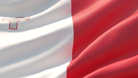 Waved highly detailed close-up flag of Malta. 3D illustration.