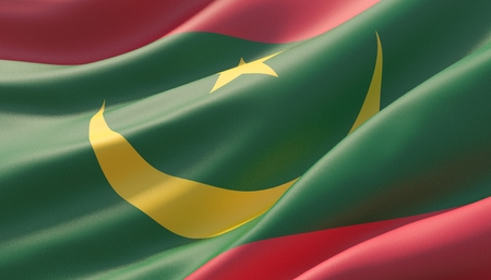 Waved highly detailed close-up flag of Mauritania. 3D illustration. 版權商用圖片