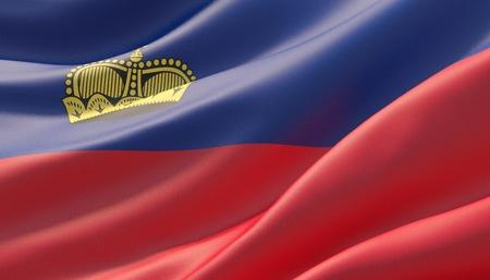 Waved highly detailed close-up flag of Liechtenstein. 3D illustration.