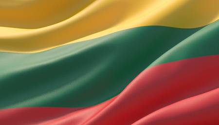 Waved highly detailed close-up flag of Lithuania. 3D illustration. Stok Fotoğraf
