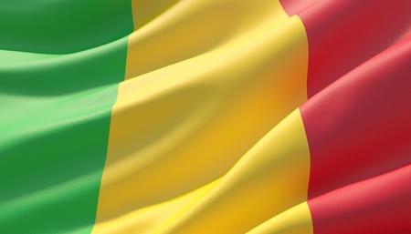 Waved highly detailed close-up flag of Mali. 3D illustration.